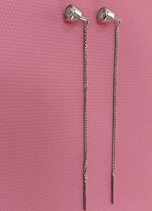 Серьги протяжки из серебра  с закатанным фианитом