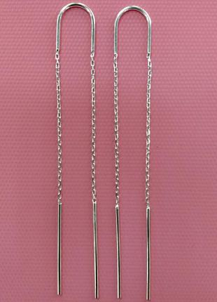 Женские серебряные серьги протяжки иллюзия длина 7.5 см