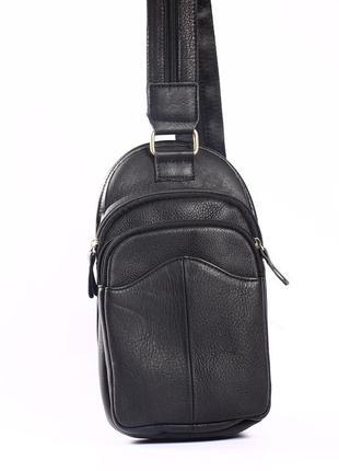 """Мужская кожаная сумка, мини-рюкзак черный """"сан-диего"""""""