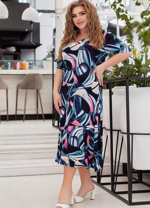 Летнее платье большого размера 00032