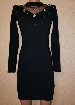 Черное новое короткое трикотажное женское платье bluoltre(италия)