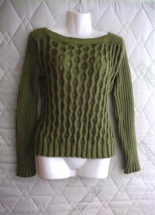Кофта, свитер, женская, зеленый цвет, вязка