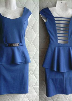 Платье синее, с баской, открытая спина, нарядное, на выпуск