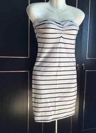 Платье в полоску, тренд, морской стиль, без бретель