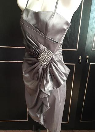 Платье, серый цвет, на лето, весна, на выпуск, недорого, миди