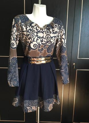 Платье, теплое, трикотажеое, с рукавом, модное, красивое, наря...
