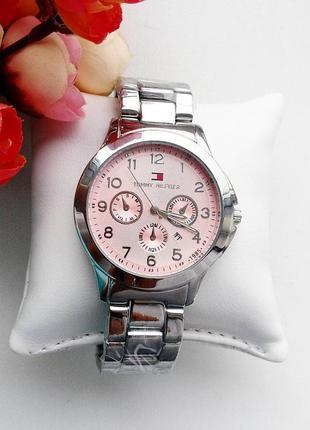Часы женские, серебристые, стильные, модные, классика, розовый...