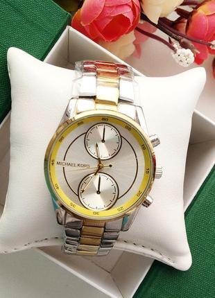 Часы, серебряно - жёлтые, женские, стильные, модные