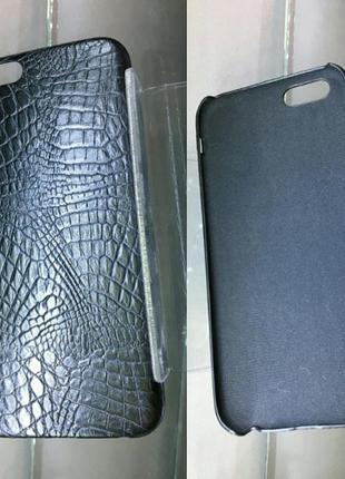 Чехол на iphone 6/6s, под кожу рептилии, черный, стильный
