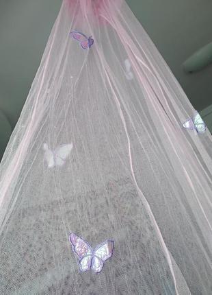 Балдахин розовый с  🦋 бабочками метелик