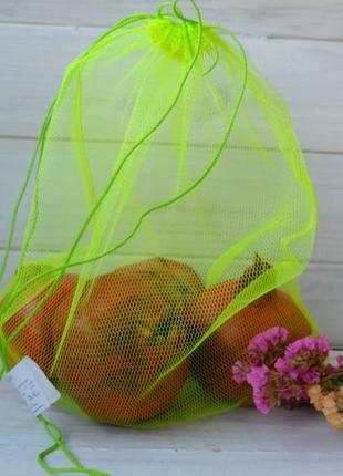 Эко мешочек из сетки желтый, эко торбочка, мешок для продуктов...