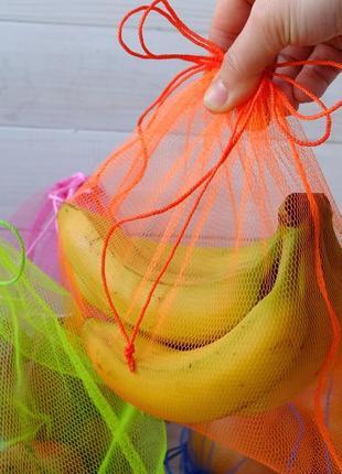 Эко мешочек из сетки оранжевый, эко торбочка, мешок для продук...
