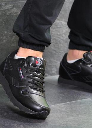 Мужские кроссовки reebok classic черные,кожаные