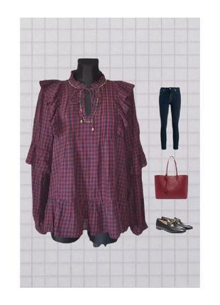 Натуральная блуза рубашка блузка туника в клетку марсала воланы