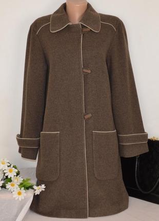 Коричневое шерстяное демисезонное пальто с карманами style col...