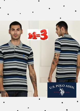 ❤1+1=3❤ u. s. polo assn мужская футболка поло