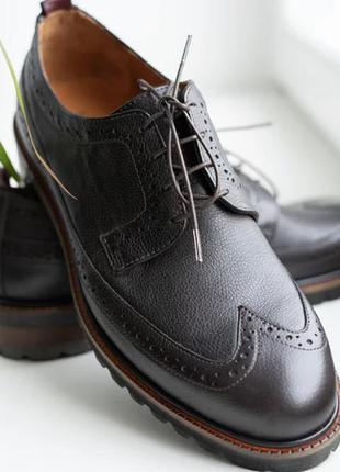 Мужские кожаные туфли броги икос темно-коричневые