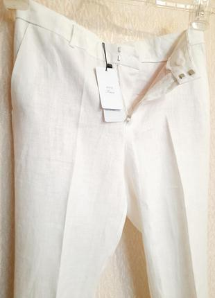 Белые брюки из льна mango xs