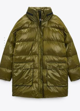 Зимняя куртка zara хаки