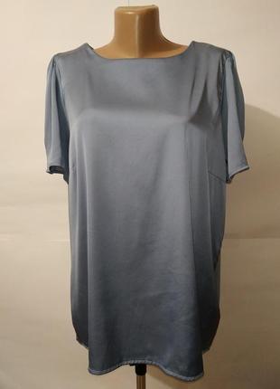 Блуза красивая атласная пыльно голубого цветы большой размер n...