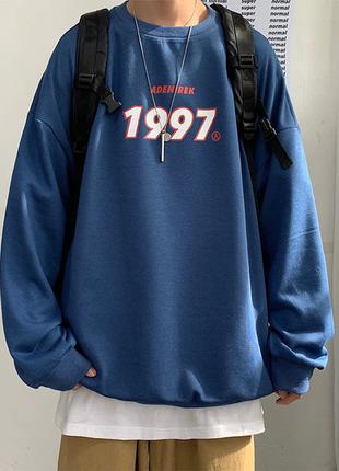 Оверсайз кофта свитшот с принтом 1997 колледж, бесплатная...