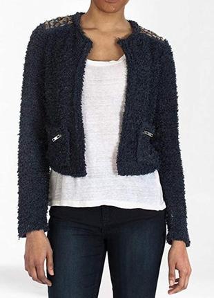 Брендовый темно-синий пиджак жакет накидка с карманами only