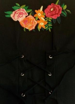 Свитер свитшот оверсайз с вышивкой с завязками размер 8-10 boohoo
