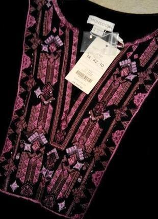 Шикарная бархатная с вышивкой блузка,туника размер 12-14 monsoon