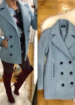 Теплое голубое пальто натуральная шерсть размер м