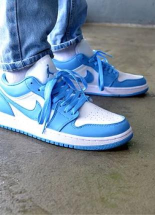 Кроссовки мужские Nike Air Jordan 1 Low Light Blue Найк Аир Джорд