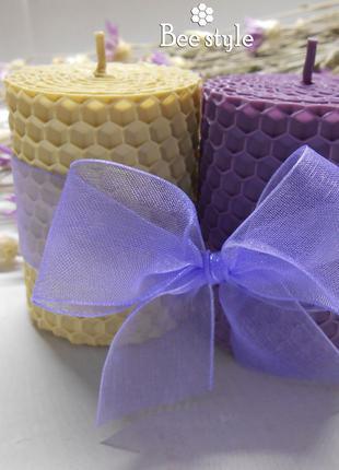 Наборчик из 2 свечей бочонки из натуральной медовой вощины