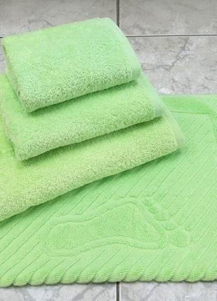 Набор махровых полотенец 3шт и коврик для ног 100% хлопок плотнос