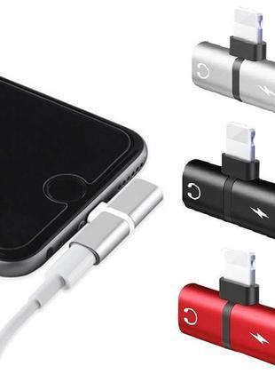 2в1 сплиттер Lightning раздвоитель для наушников и зарядки Iphone