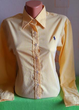 Крутая рубашка в бело-желтую клеточку ralph lauren, молниеносная