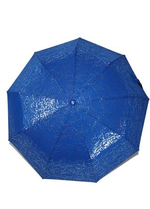 Женский зонт полуавтомат с серебряной абстракцией max, синий