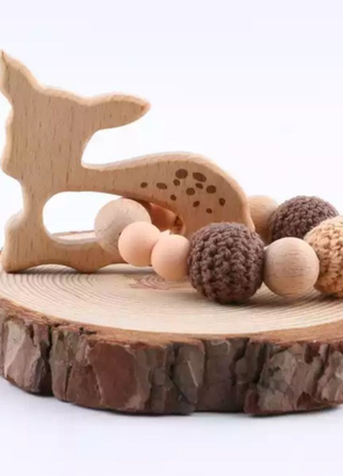 Прорезыватель для зубов деревянный, грызунок, грызун, браслет