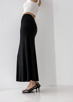 Длинная трикотажная юбка трапеция из шелковистой вискозы