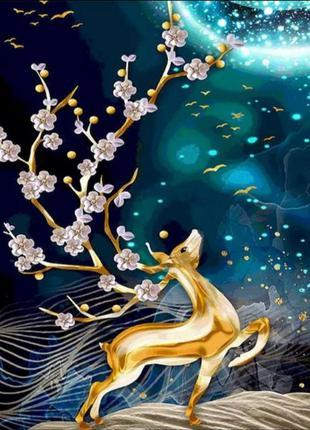 Картина плакат постер для декора стен на холсте живопись олень в