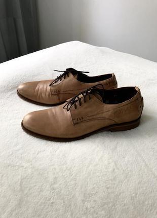 Классные кожаные туфли мужские светлые бежевый цвет натуральна...
