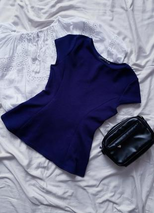 Блузка кофта з баскою в рубчик