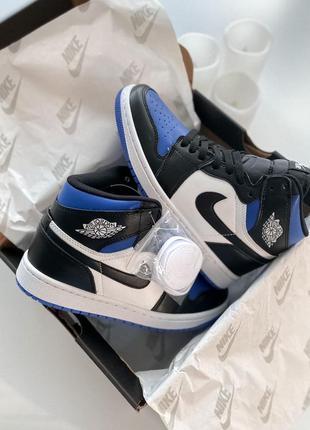 Кроссовки nike jordan 1 retro high black/blue