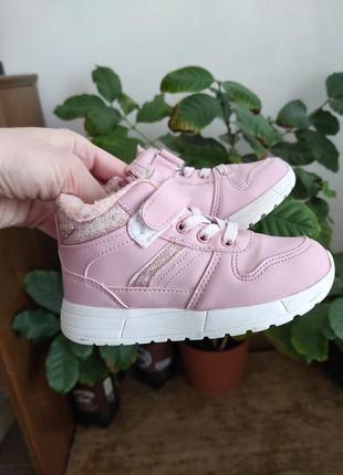 Утеплённые розовые хайтопы кеды 27 размер