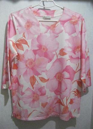 Джемпер кофта свитер lotos розовый цветы четверной рукав