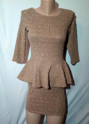 Платье нарядное с баской.