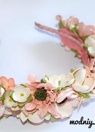 Обруч ободок венок на голову для волос с цветами цветочный