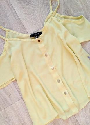 Футболка блуза со спущенным плечами шифоновая лёгкая от atmosp...