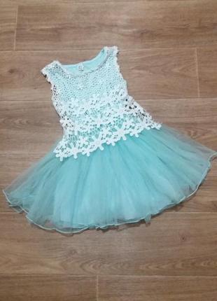 Платье шикарное кружевное юбка пачка фатин