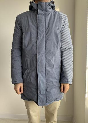 Зимова куртка чоловіча парка з овчини тепла куртка синя.