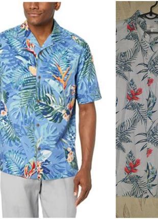 Гавайка рубашка с коротким рукавом в тропический, гавайский принт