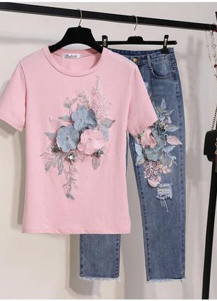 Костюм джинсы футболка цветы шикарный бахрома необработанный край